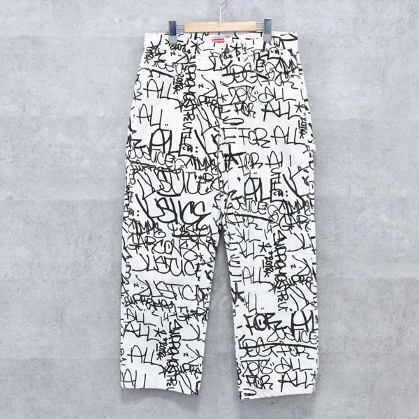 【中古】SUPREME × COMME DES GARCONS SHIRT 18AW Canvas Painter Pant キャンバスプリンター パンツ ホワイト・ブラック サイズ:32 【送料無料】 【260918】(シュプリーム×コムデギャルソンシャツ)