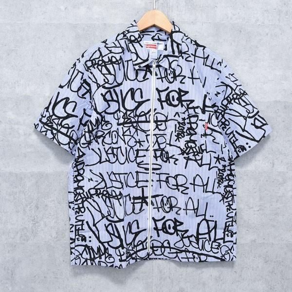 【中古】SUPREME × COMME DES GARCONS SHIRT 18AW Graphic S/S Shirt グラフィック 半袖シャツ ブルー・ブラック サイズ:M 【送料無料】 【260918】(シュプリーム×コムデギャルソンシャツ)