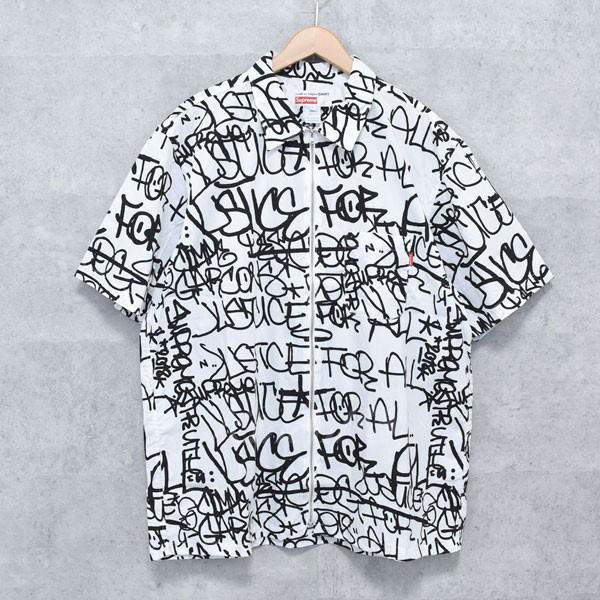 【中古】SUPREME × COMME DES GARCONS SHIRT 18AW Graphic S/S Shirt グラフィック 半袖シャツ ホワイト・ブラック サイズ:X 【送料無料】 【260918】(シュプリーム×コムデギャルソンシャツ)