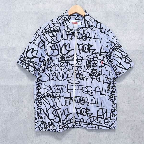 【中古】SUPREME × COMME DES GARCONS SHIRT 18AW Graphic S/S Shirt グラフィック 半袖シャツ 【送料無料】 【232220】 【AM1498】