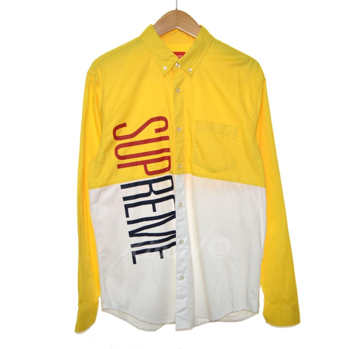 【中古】SUPREME 14SS Competition Shirt ボタンダウンシャツ イエロー×ホワイト サイズ:M 【送料無料】 【260918】(シュプリーム)