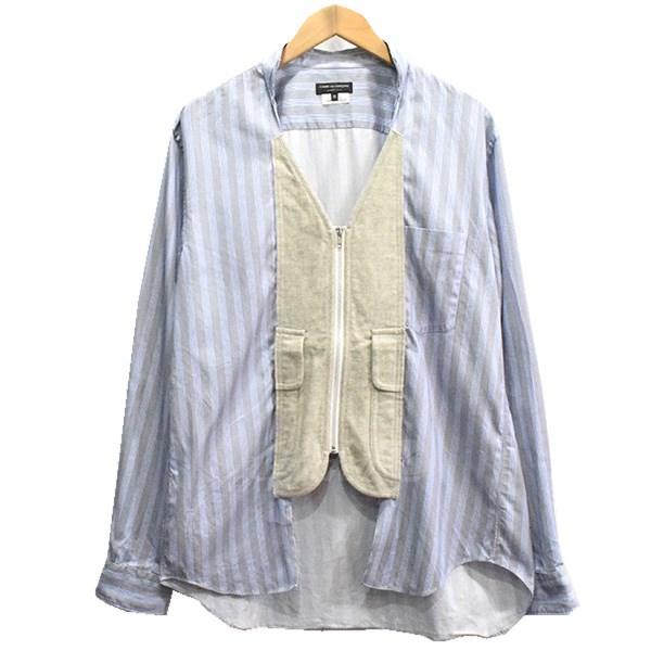 【中古】COMME des GARCONS HOMME PLUS 17AW ZIP UP SHIRT ジップアップシャツ ブルー系 サイズ:M 【送料無料】 【260918】(コムデギャルソンオムプリュス)