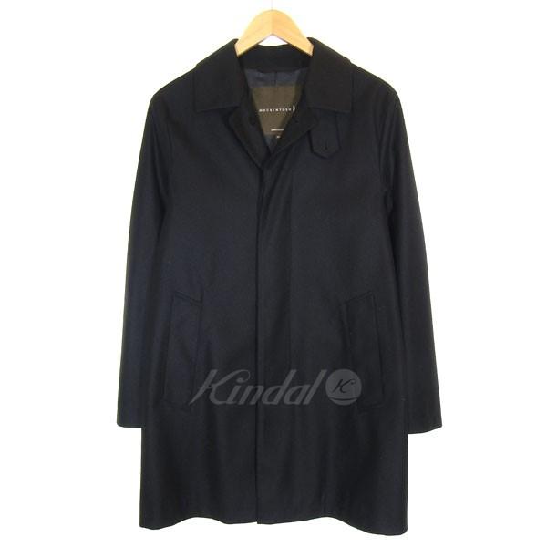 【中古】mackintosh ウールステンカラーコート ブラック サイズ:36 【送料無料】 【260918】(マッキントッシュ)