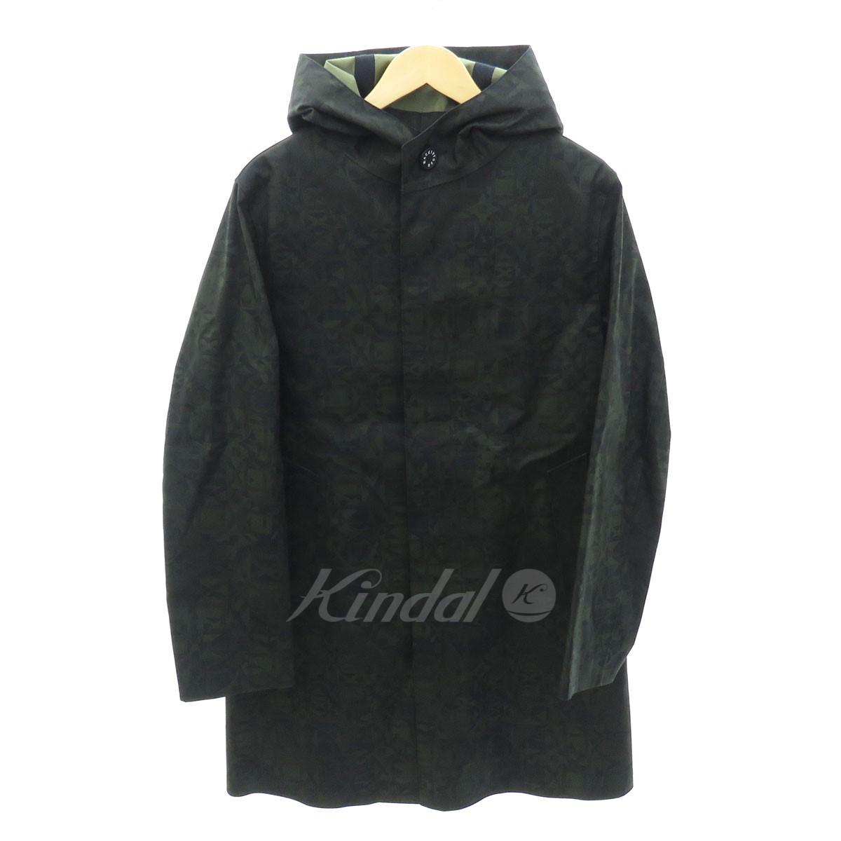 【中古】MACKINTOSH LONDON 18AW 総柄フーデッドコート オリーブ×ブラック サイズ:38 【送料無料】 【300918】(マッキントッシュロンドン)