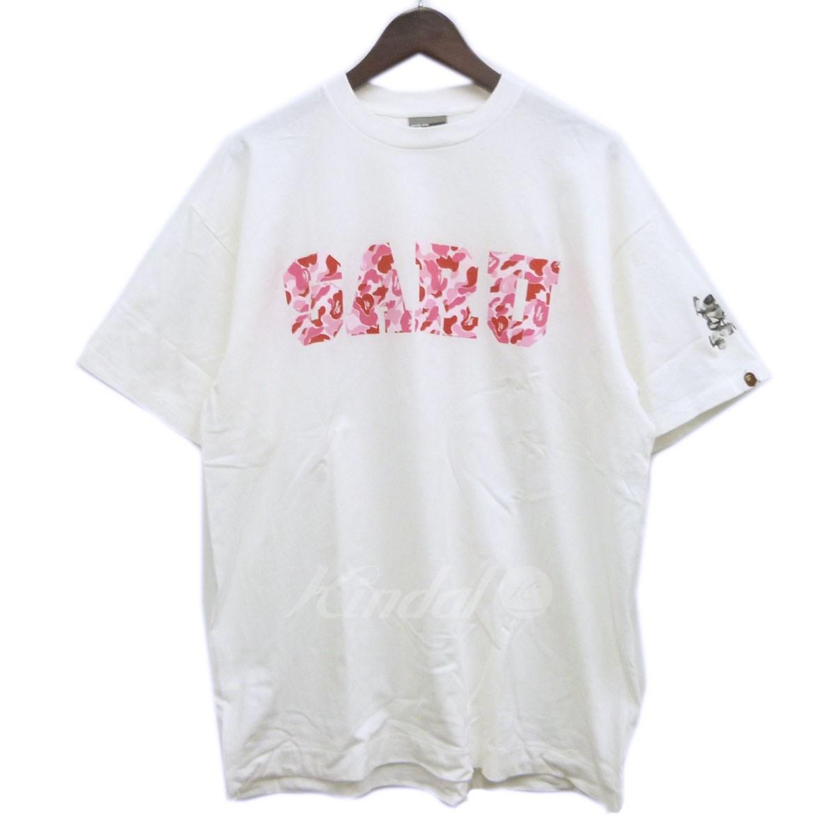 【中古】A BATHING APE×SANTASTIC ABCカモSARUTシャツ ホワイト×ピンク サイズ:XL 【送料無料】 【300918】(アベイシングエイプ×サンタスティック)