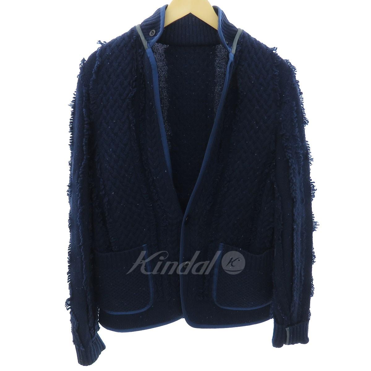 【中古】sacai ケーブル編みジャケット ネイビー サイズ:3 【送料無料】 【051018】(サカイ)