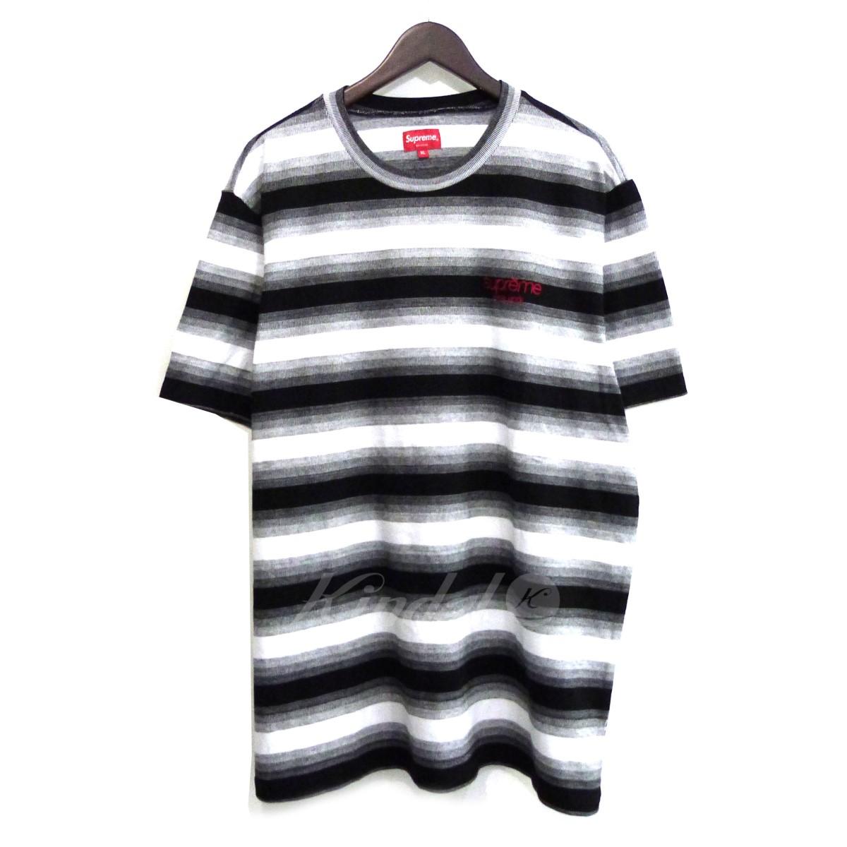 【中古】SUPREME 18AW「Gradient Striped S/S Top」ストライプTシャツ ブラック サイズ:XL 【送料無料】 【051018】(シュプリーム)