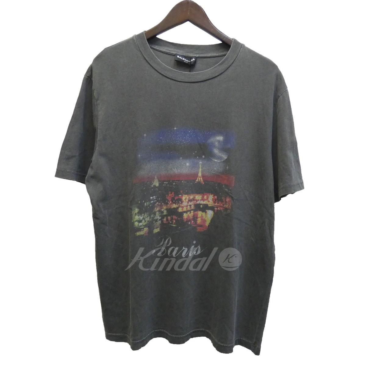 【中古】BALENCIAGA 18SS「Paris」ヴィンテージ加工プリントTシャツ グレー サイズ:M 【送料無料】 【051018】(バレンシアガ)