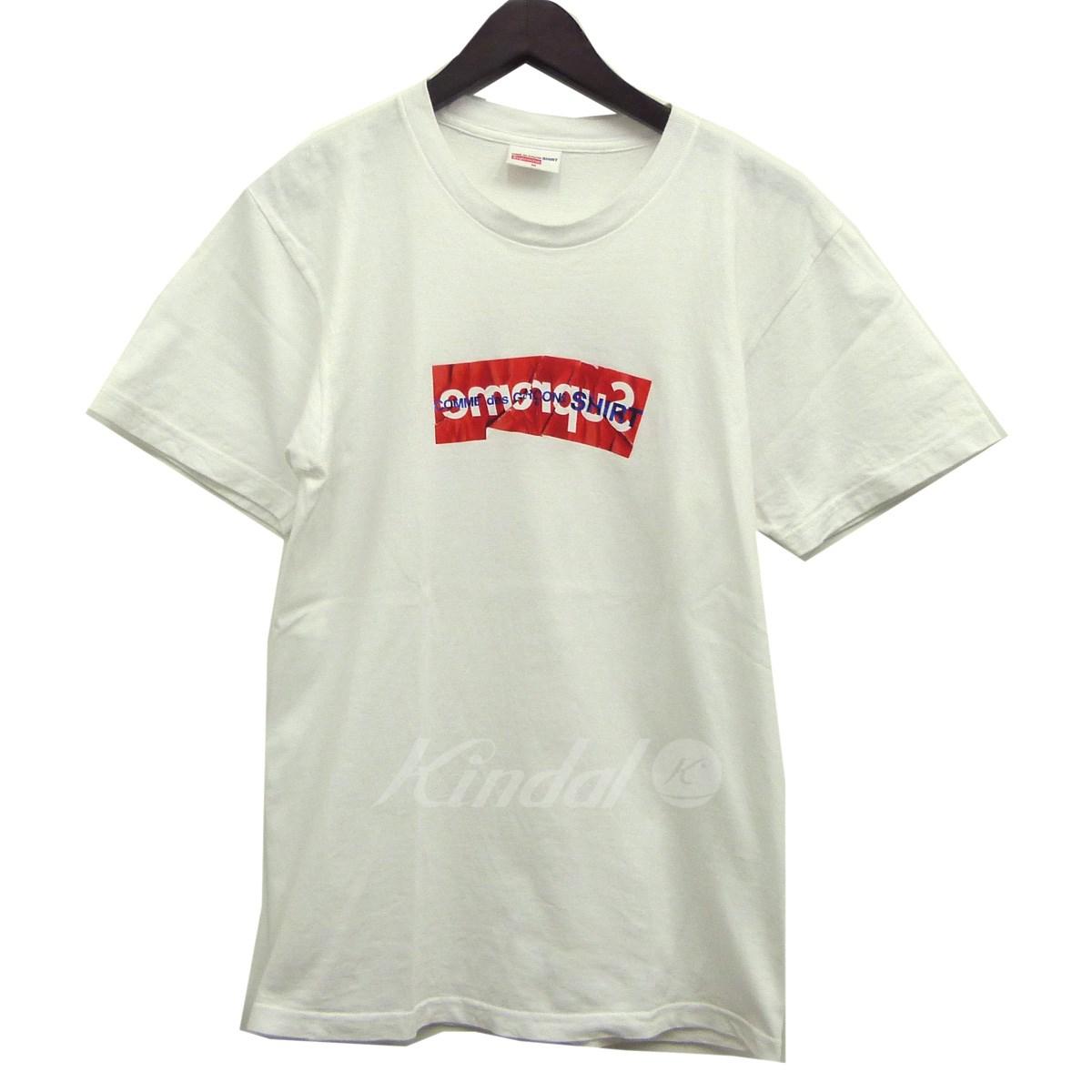 【中古】Supreme x Comme des Garcons SHIRT 17SS「Box Logo Tee」ボックスロゴTシャツ ホワイト サイズ:M 【送料無料】 【061018】(シュプリーム×コムデギャルソンシャツ)