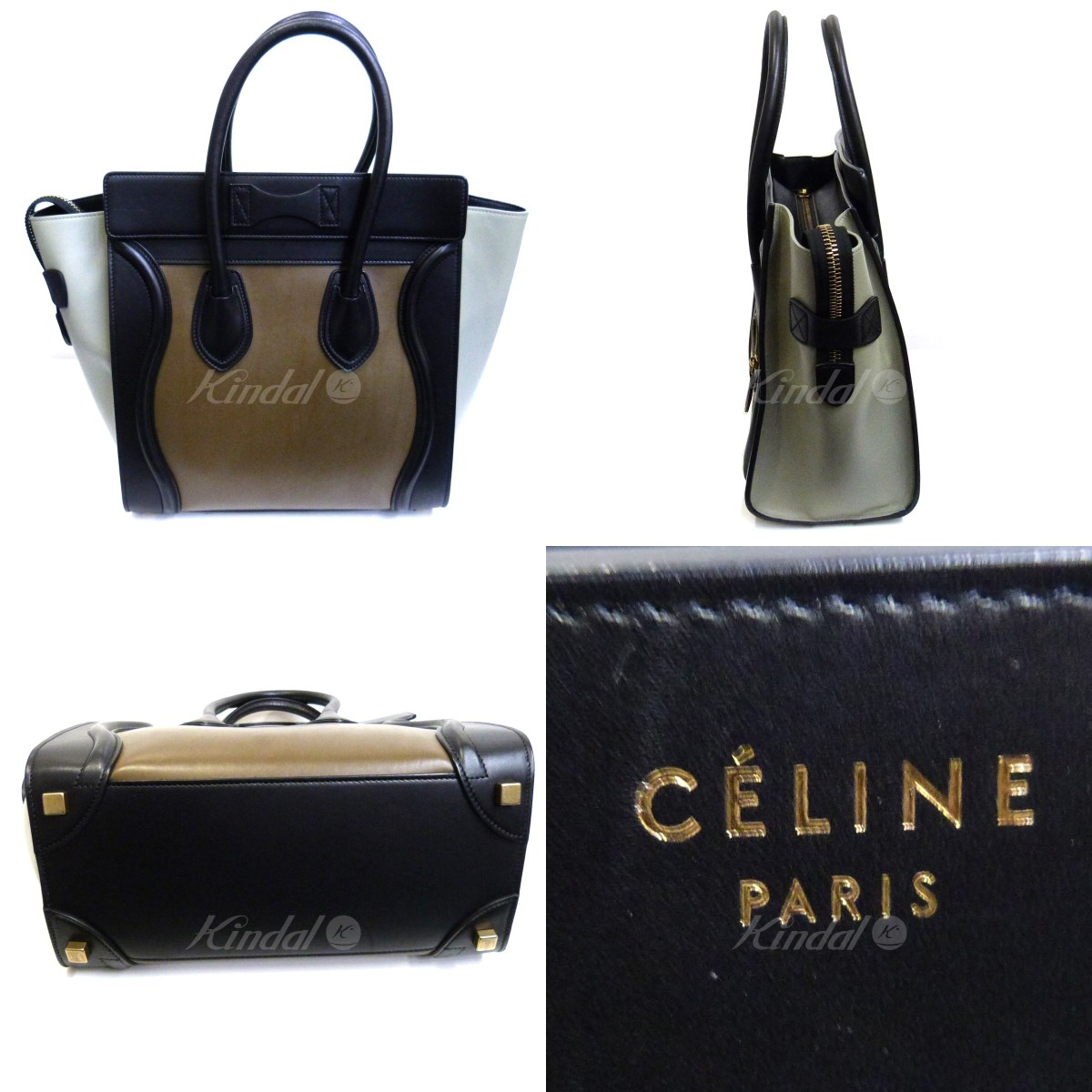 3c4e974cb2aa CELINE luggage leather tote bag black X brown size  - (Celine)