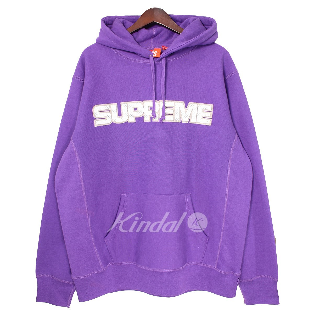 【中古】SUPREME 18AW Perforated Leather Hooded Sweatshirt ロゴパーカー 【送料無料】 【001462】 【KIND1550】