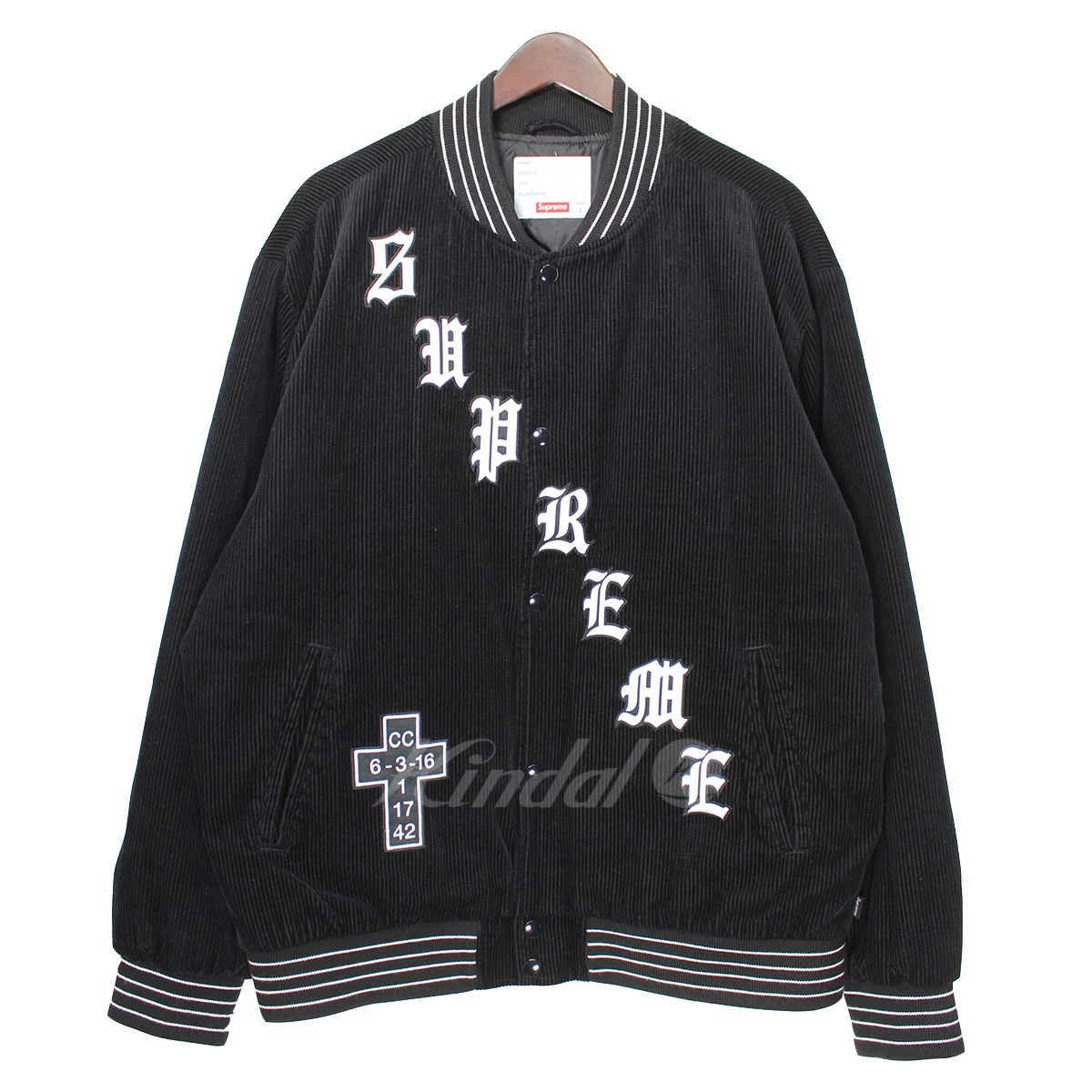 【中古】SUPREME 18SS Old English Corduroy Varsity Jacket ロゴジャケット 【送料無料】 【002768】 【KIND1550】