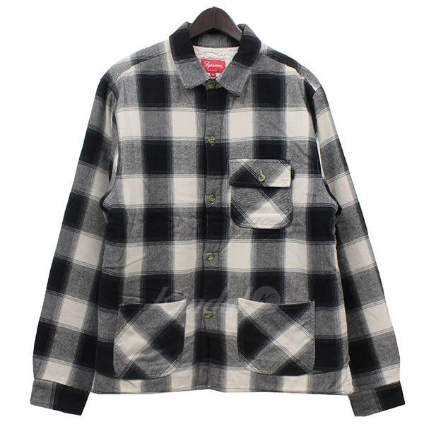 【中古】Supreme 2017AW Buffalo Plaid Sherpa Lined Chore Shirt シャツ ブラック サイズ:M 【送料無料】 【141018】(シュプリーム)