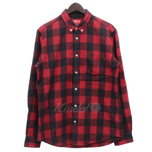 【中古】Supreme BUFFALO CHECK SHIRT バッファローチェックネルシャツ レッド×ブラック サイズ:M 【送料無料】 【141018】(シュプリーム)