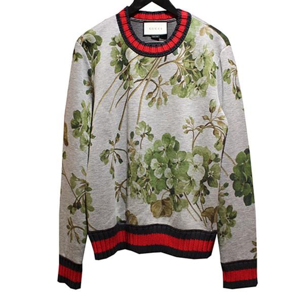 【中古】GUCCI Blooms Print Double jersey sweatshirt GGブルームストレーナー グレー サイズ:S 【送料無料】 【131018】(グッチ)