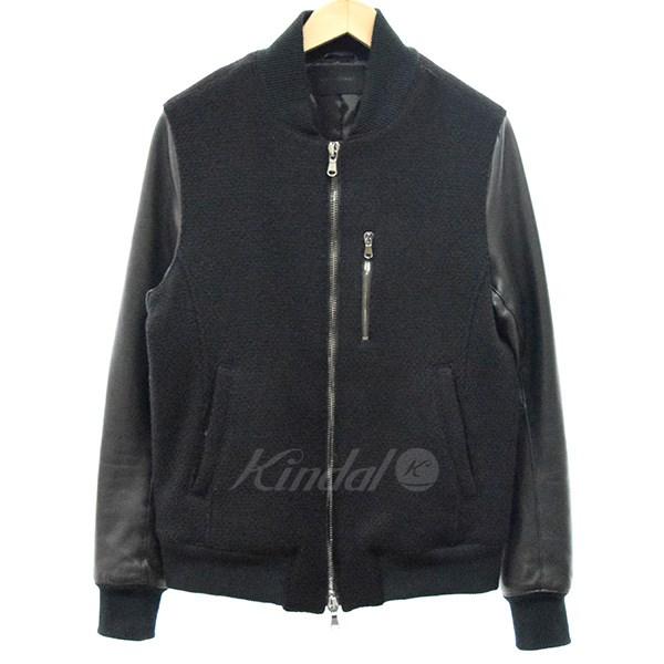 【中古】jun hashimoto 16AW LEATHER COMBI MA-1 袖レザー ジャケット ブラック サイズ:3 【送料無料】 【141018】(ジュン ハシモト)