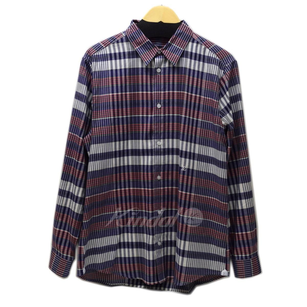【中古】LOUIS VUITTON ビエラチェックシャツ ネイビーxレッド サイズ:XL 【送料無料】 【141018】(ルイヴィトン)