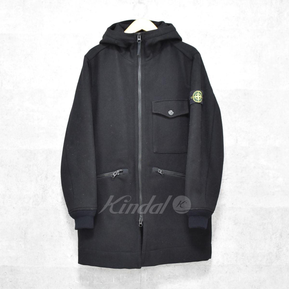 【中古】STONE ISLAND フード付 ジップアップコート Panno Speciale Jacket ブラック サイズ:M 【送料無料】 【141018】(ストーンアイランド)