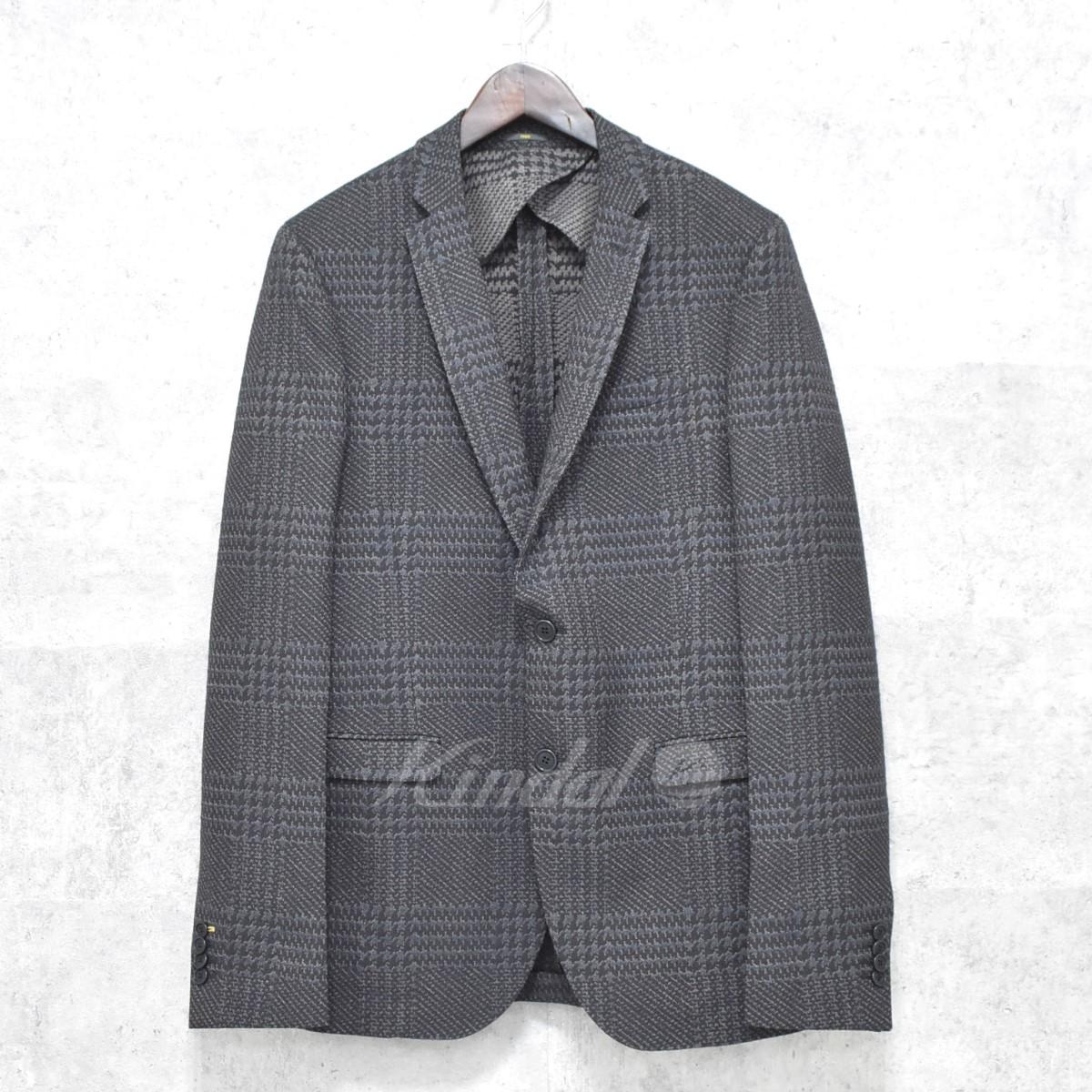 【中古】FENDI 2Bテーラードジャケット ブラック×ネイビー サイズ:50 【送料無料】 【141018】(フェンディ)