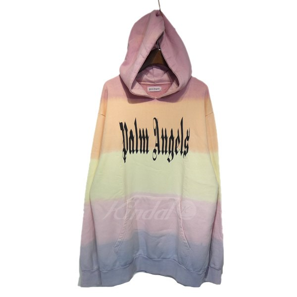 【中古】Palm Angels 2018SS「Gothic Rainbow Hoodie」プルオーバーパーカー ピンク サイズ:M 【送料無料】 【171018】(パームエンジェルス)