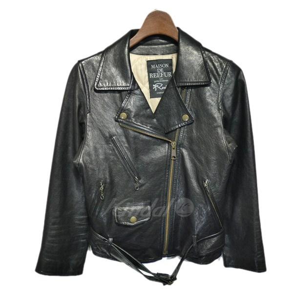 【中古】MAISON DE REEFUR 中綿ダブルライダースジャケット ブラック サイズ:36 【送料無料】 【171018】(メゾンドリーファー)