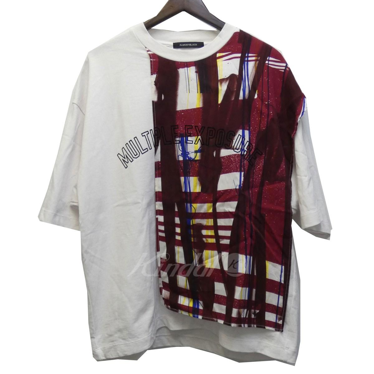 【中古】ALMOSTBLACK 18AW 切替デザインTシャツ ホワイト×マルチカラー サイズ:1 【送料無料】 【171018】(オールモストブラック)
