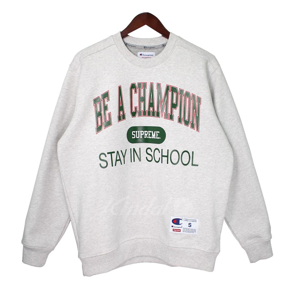 【中古】Supreme×Champion 18SS Stay In School Crewneck Sweatshirt ロゴスウェット 【送料無料】 【001170】 【KIND1550】