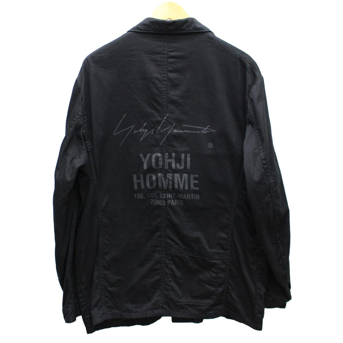 【中古】YOHJI YAMAMOTO pour homme スタッフ ワークシャツ ジャケット 2017AW ブラック サイズ:3 【送料無料】 【191018】(ヨウジヤマモトプールオム)
