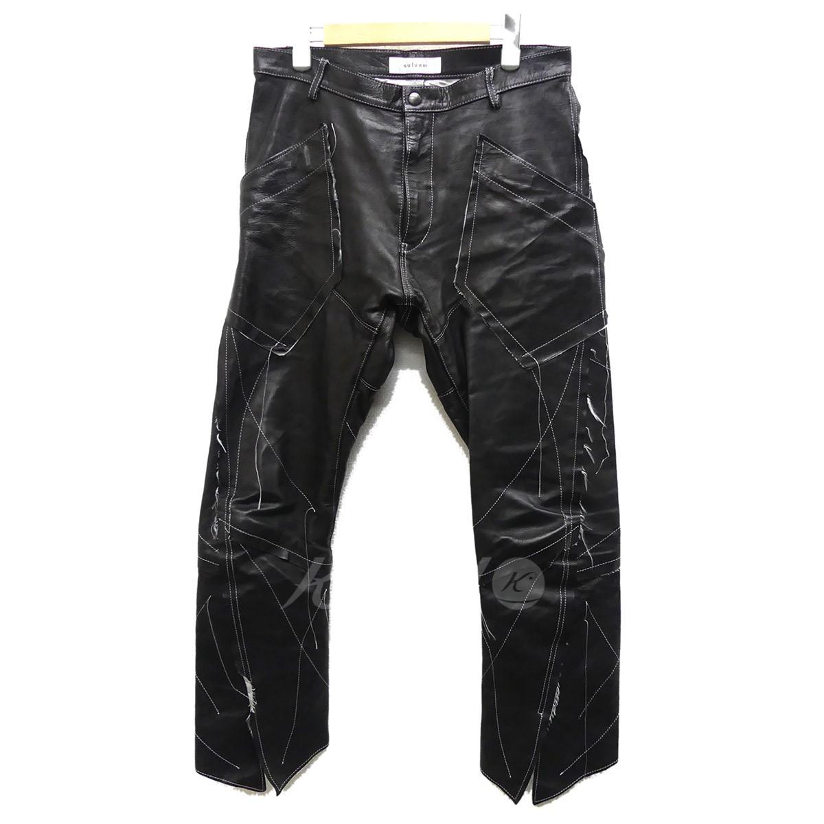 【中古】SULVAM 2017AW レザーパンツ Grafting Boots Cut PT ブラック サイズ:M 【送料無料】 【191018】(サルバム)