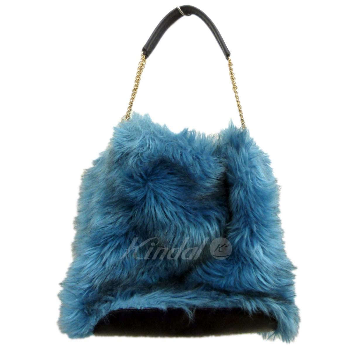 【中古】STELLA McCARTNEY フェイクファーチェーンバッグ ブルー サイズ:- 【送料無料】 【201018】(ステラマッカートニー)