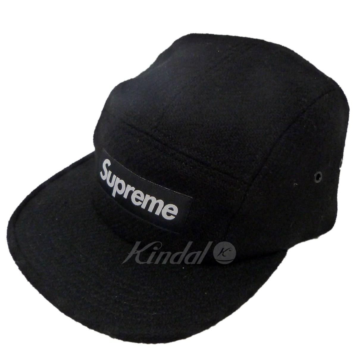 【中古】SUPREME×Harris tweed 17AW「Featherweight Wool Camp Cap」BOXロゴキャップ ブラック サイズ:- 【送料無料】 【201018】(シュプリーム ハリスツイード)