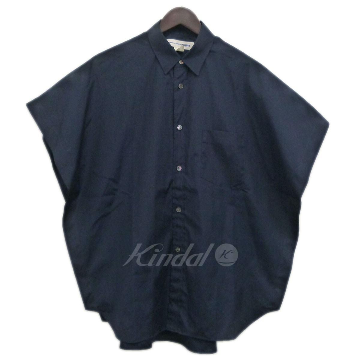 【中古】COMME des GARCONS SHIRT 15SSケープシャツ ネイビー サイズ:XS 【送料無料】 【201018】(コムデギャルソンシャツ)