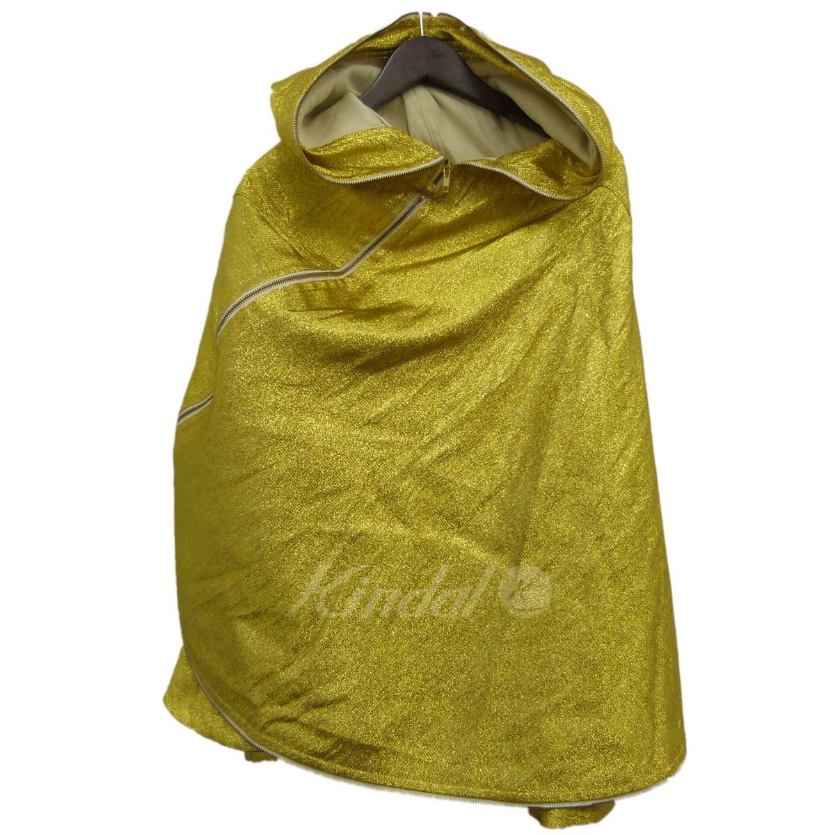 【中古】COMME des GARCONS11AWラメジップポンチョ ゴールド サイズ:S