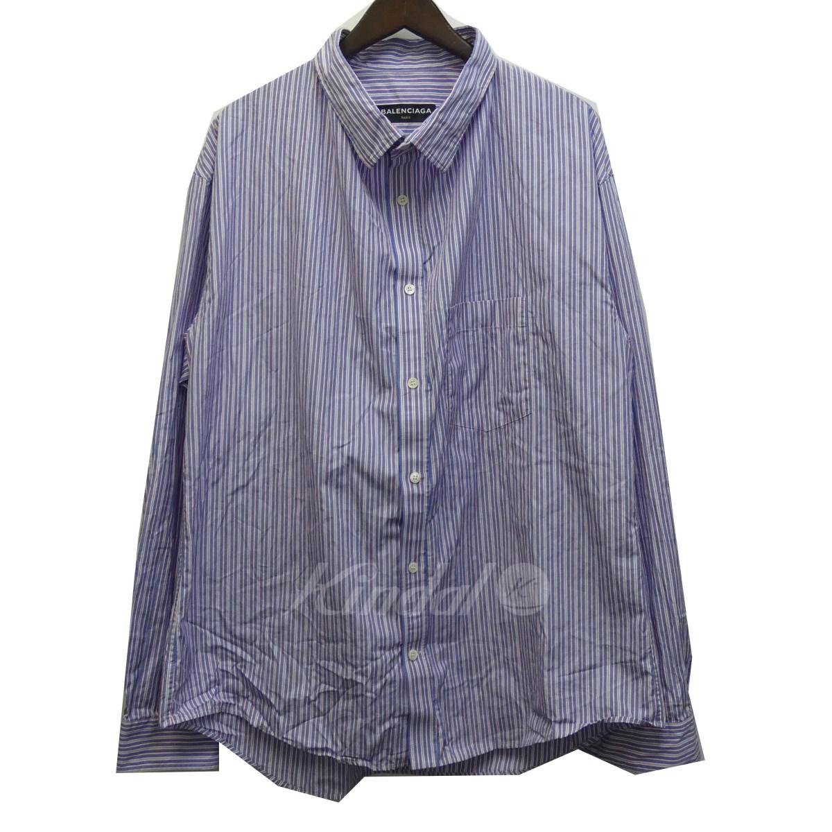 【中古】BALENCIAGA 18SS 508459 オーバーサイズストライプシャツ ネイビー サイズ:40 【送料無料】 【201018】(バレンシアガ)