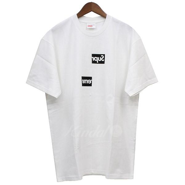 【中古】Supreme × COMME des GARCONS SHIRT 2018AW Split Box Logo Tee ボックスロゴTシャツ ホワイト サイズ:L 【送料無料】 【201018】(シュプリーム コムデギャルソンシャツ)