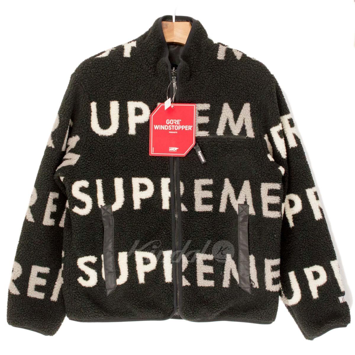 【中古】SUPREME 18AW Reversible Logo Fleece Jacket ブラック/ホワイト/グレー サイズ:S 【送料無料】 【201018】(シュプリーム)