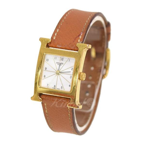 【中古】HERMES Hウォッチ クオーツ腕時計 HH1.201 J刻印 【送料無料】 【005720】 【KIND1550】