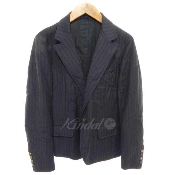 【中古】LANVIN シャドーストライプ1Bジャケット ネイビー サイズ:46 【送料無料】 【201018】(ランバン)