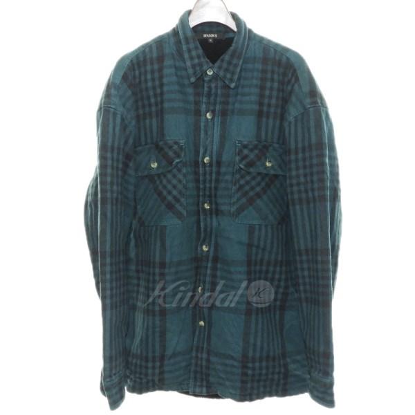【中古】Yeezy Season 5 内ボアフランネルチェックシャツ グリーン サイズ:S 【送料無料】 【201018】(イージーシーズンファイブ)
