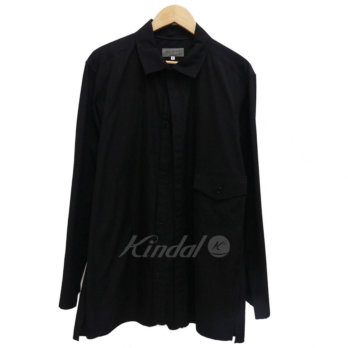 【中古】YOHJI YAMAMOTO pour homme ダブルフロント長袖シャツ 2018SS ブラック サイズ:2 【送料無料】 【221018】(ヨウジヤマモトプールオム)