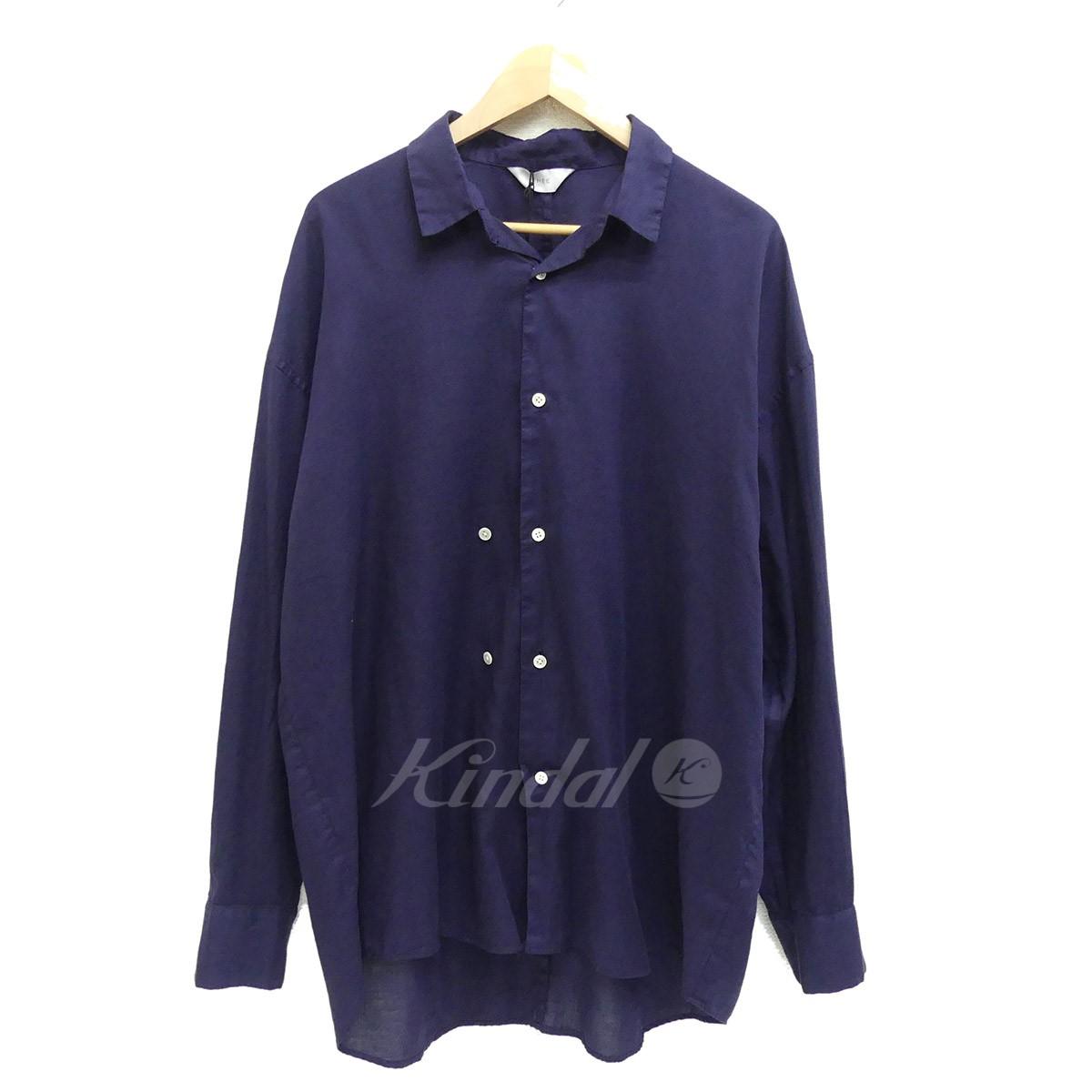 【中古】THEE ダブルボタンオーバーサイズシャツ 2018AW ネイビー サイズ:1 【送料無料】 【221018】(シー)