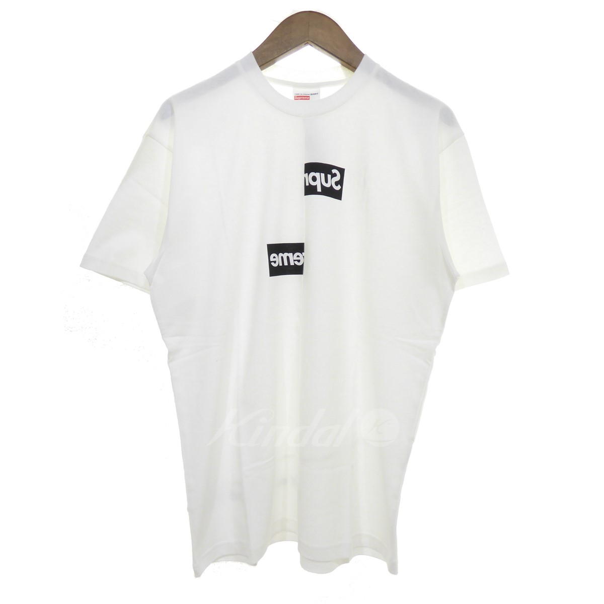 【中古】Supreme × COMME des GARCONS SHIRT 【2018A/W】Split Box Logo Tee スプリットBOXロゴTシャツ ホワイト サイズ:S 【送料無料】 【221018】(シュプリーム×コムデギャルソンシャツ)