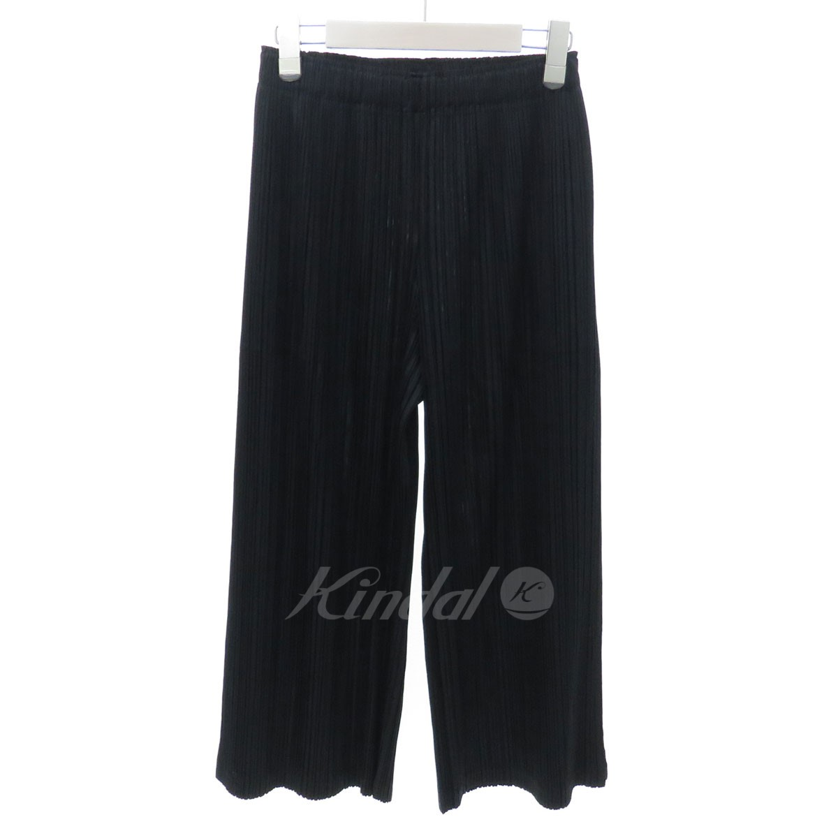【中古】PLEATS PLEASE 18SS サイドスリットプリーツワイドパンツ ブラック サイズ:2 【送料無料】 【221018】(プリーツプリーズ)