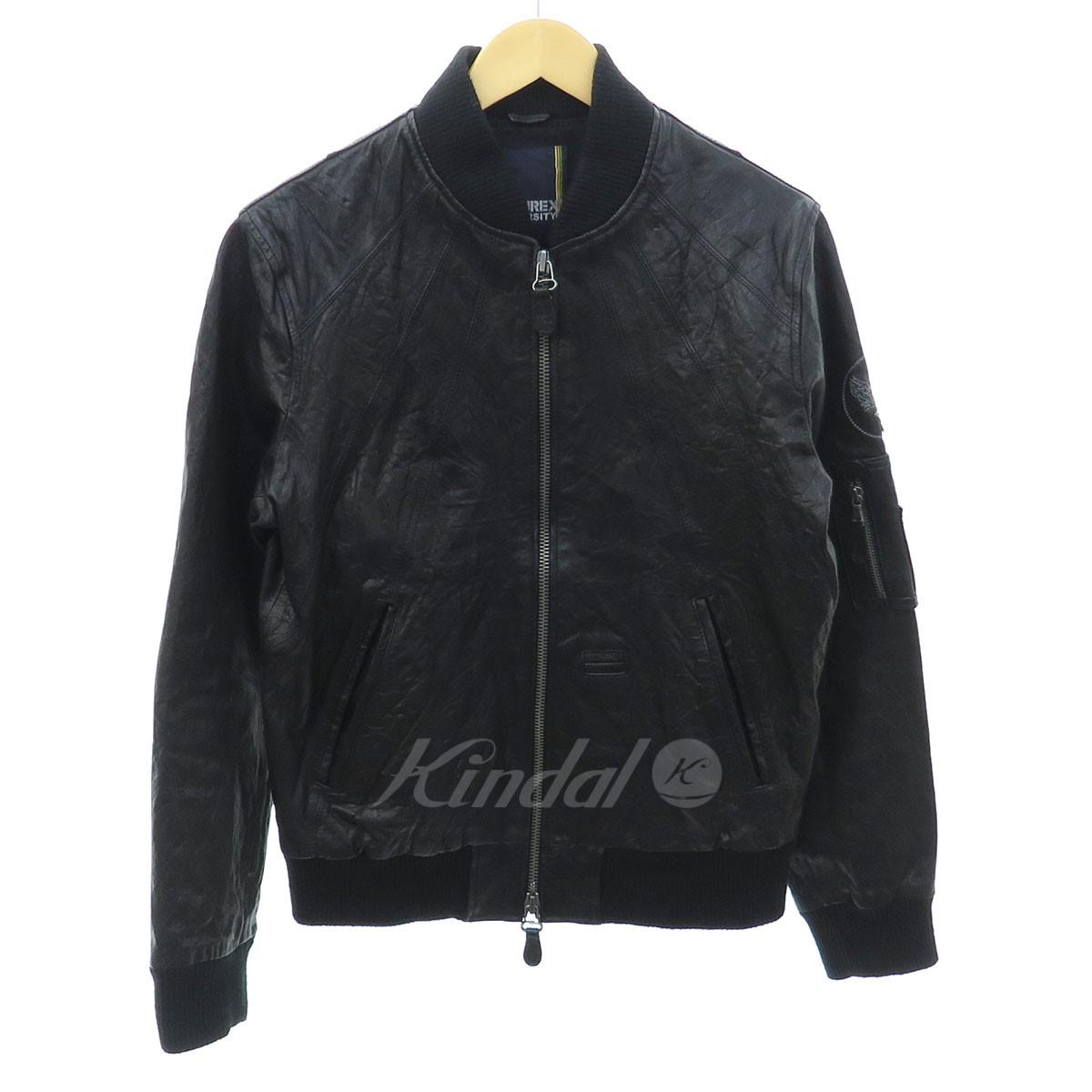 【中古】AVIREX MA-1 M.O.Eレザージャケット ブラック サイズ:M 【送料無料】 【221018】(アビレックス)