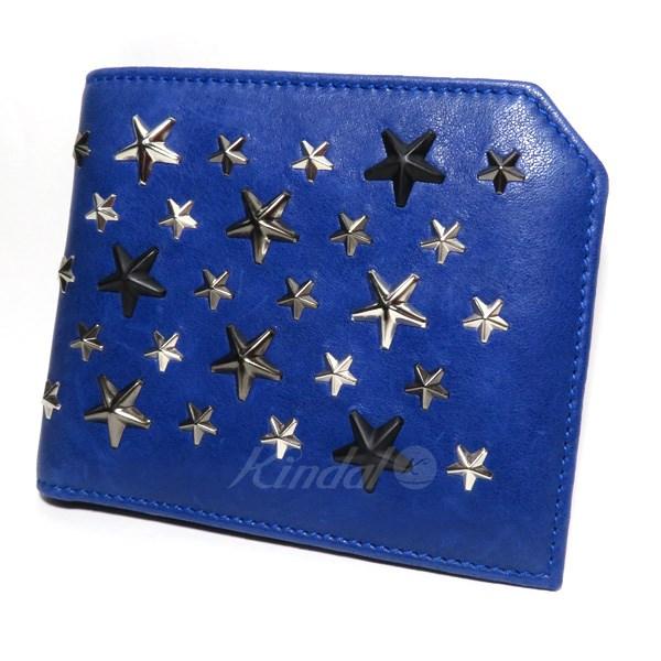 【中古】JIMMY CHOO ALBANYスタッズ二つ折財布 ブルー 【送料無料】 【231018】(ジミーチュウ)