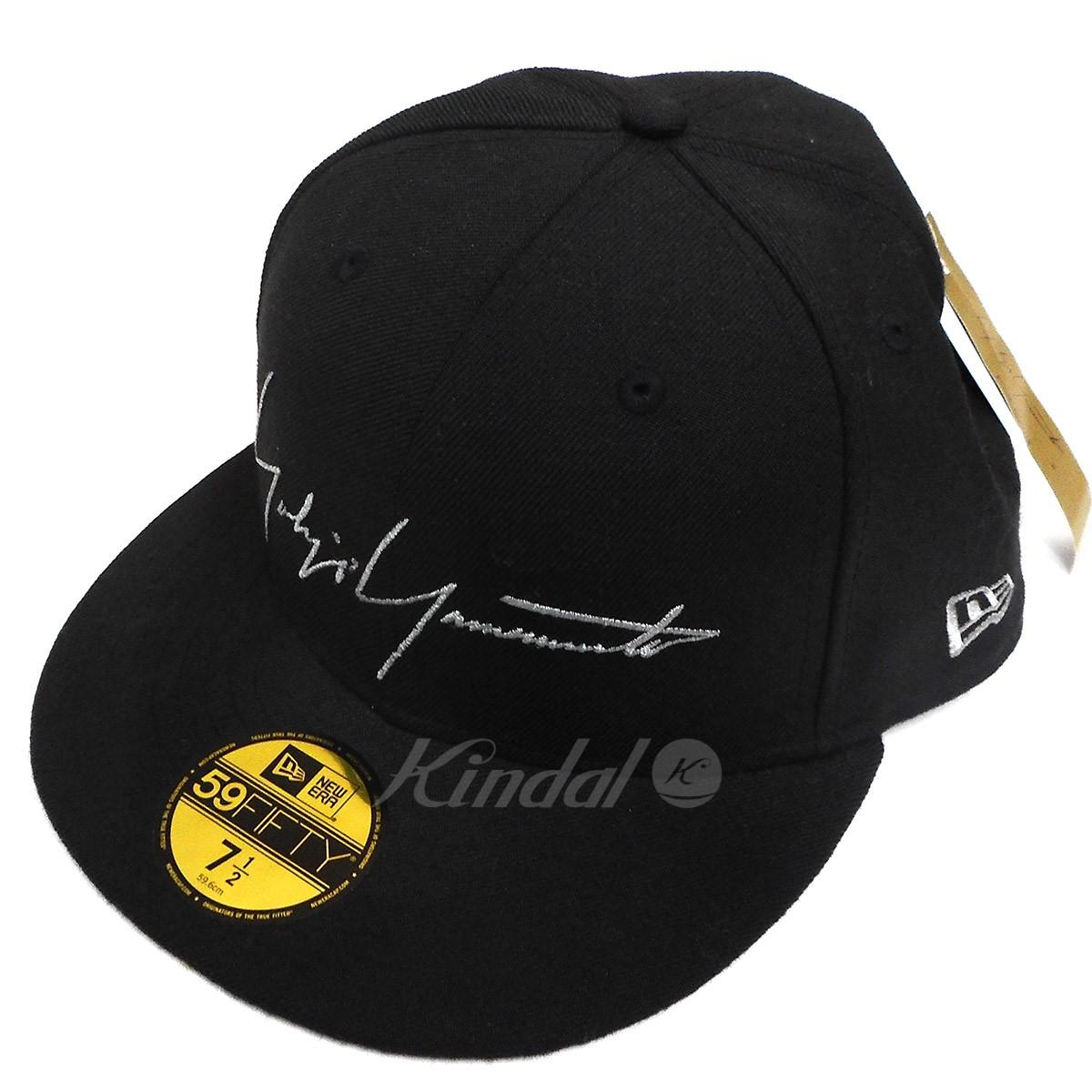 【中古】YOHJI YAMAMOTO pour homme×NEW ERA 17SS 59FIFTY LOGO CAP ロゴ刺繍ベースボールキャップ ブラック サイズ:7 1/2 【送料無料】 【231018】(ヨウジヤマモトプールオム×ニューエラ)