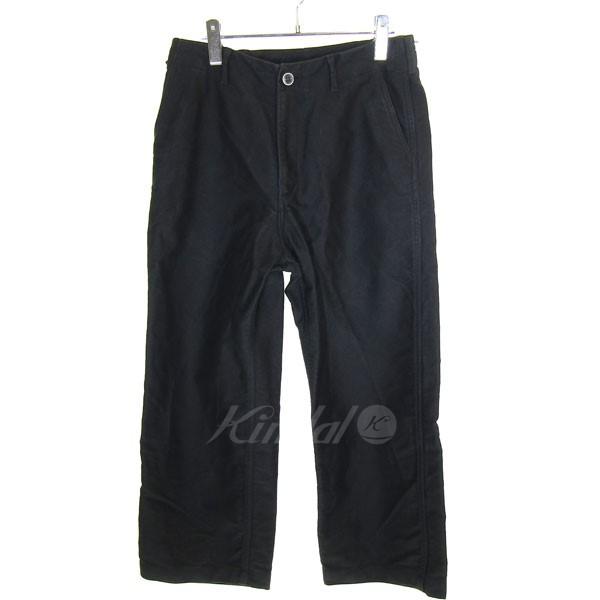 【中古】AURALEE 2017A/W FINX MOLE SKIN WIDE PANTS ワイドパンツ ブラック サイズ:3 【送料無料】 【231018】(オーラリー)