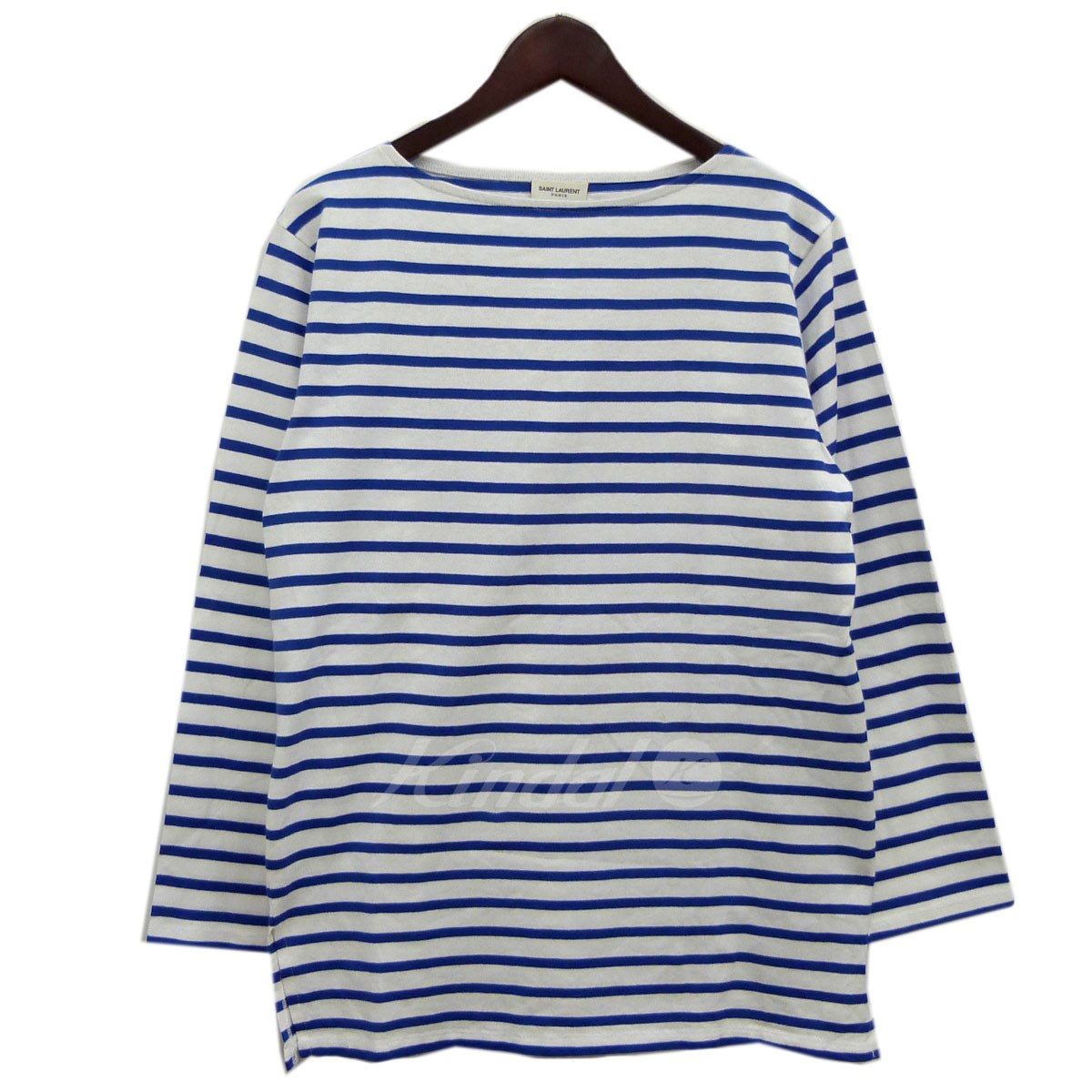 【中古】SAINT LAURENT PARIS 15SSボーダー長袖Tシャツ ブルー×ホワイト サイズ:XL 【送料無料】 【231018】(サンローランパリ)