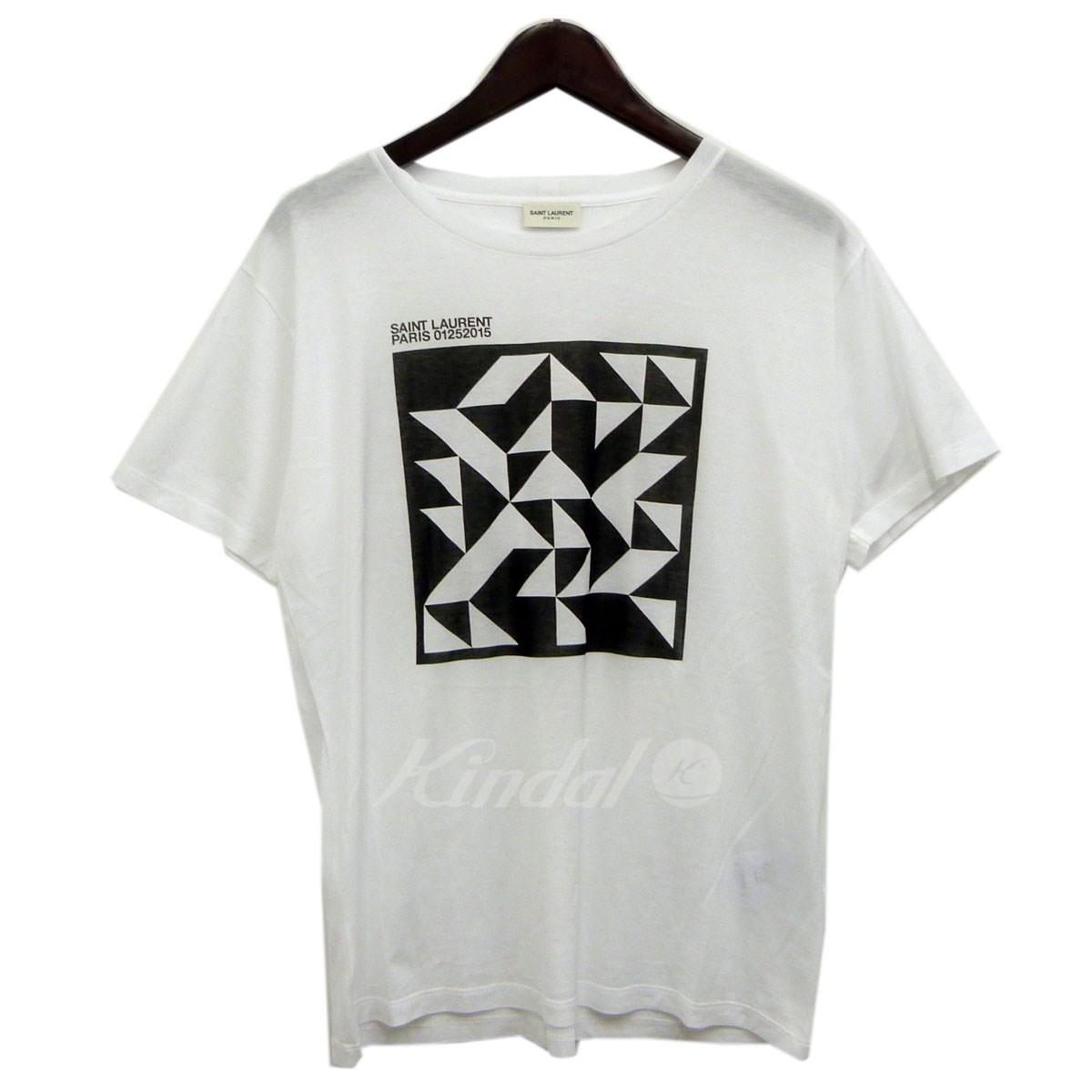 【中古】SAINT LAURENT PARIS 15AWジオメトリックTシャツ ホワイト サイズ:M 【送料無料】 【231018】(サンローランパリ)