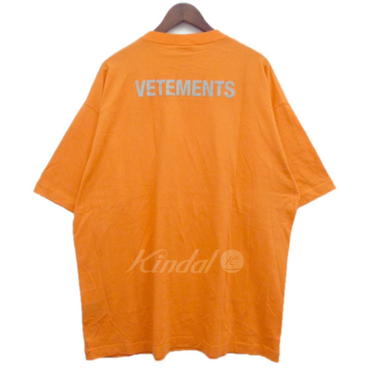 【中古】VETEMENTS 18SSリフレクタープリントTシャツ オレンジ サイズ:M 【送料無料】 【231018】(ヴェトモン)